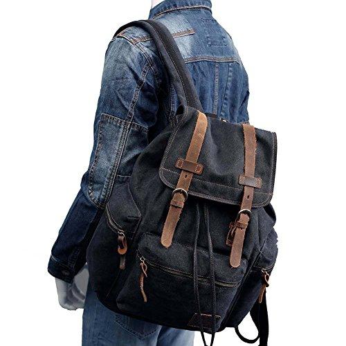 BLUBOON Canvas Vintage Backpack Leather Casual Bookbag Men