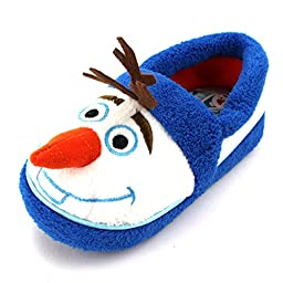 Frozen Kids A-Line Slippers (7/8 M US Toddler, White/Blue Olaf)