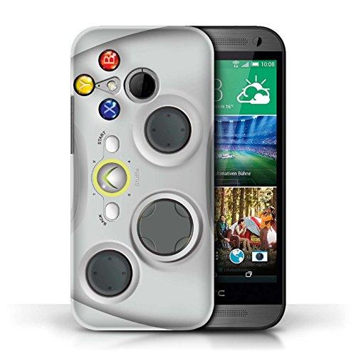 iCHOOSE Print Motif Coque de protection Case / Plastique manchon de telephone Coque pour HTC One/1 Mini 2 / Collection Console (jeux vidéo) / Blanc Xbox 360