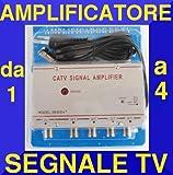 AMPLIFICATORE SPLITTER TV 4 OUT SEGNALE ANTENNA DECODER