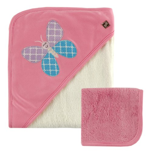 Hudson Baby Rayon from Bamboo Hooded Bath Towel and Washcloth, Pink Butterfly - 1