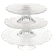 12-Inch,3-Tier Laura Glass Cake Stand