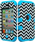 JUSTING@Black & White Chevron Pattern Hybrid Hard Case for Apple Ipod Touch 4, 4th Generation with Free Screen Protector+Stylus Pen (blue)