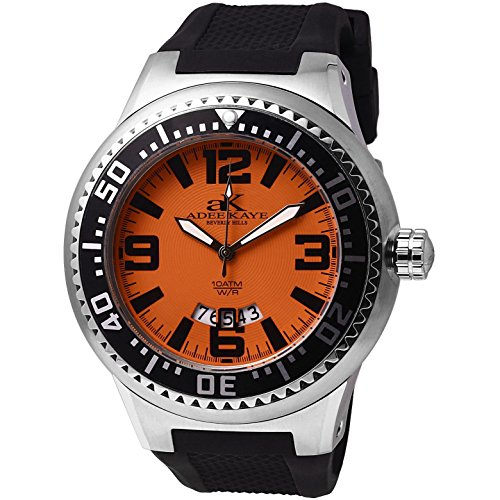 Adee Kaye Yatch AK2230-MSS-SM 47.43x39.70mm Stainless Steel Case Black Silicone Mineral Men's Watch