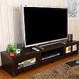 【完成品】【組立不要】 木製 引き出し 収納付きテレビラック TV 台 テレビ ロー ボード ダークブラウン