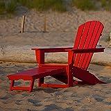 CASA BRUNO South Beach Ultimate Adirondack Chair mit ausziehbarem Fussteil, aus recyceltem Polywood® HDPE Kunststoff, sunset red - kompromisslos wetterfest