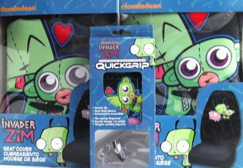 INVADER ZIM Gir Car Seat Covers (2) & Steering Wheel Cover Automotive Package Deal!