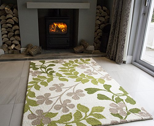 Sofia Soft Modern Cream & Green Lavish Leaf Print Wool Rug 0241 - 2 Sizes Available
