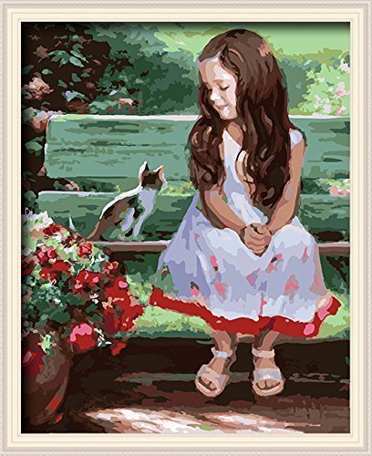 paint by number kits Girl and Cat 16*20 inches Frameless