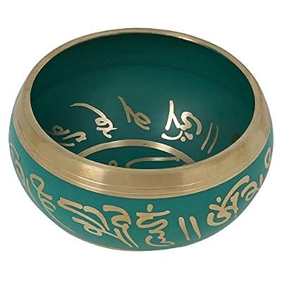 Buddhistische Meditation Singing Bowl tibetischen Dekor Kunst grün 10,2 CM