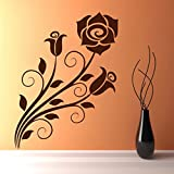 Decal Style Flower Swirl Wall Sticker Large Size- 19*25 Inch Color - Brown