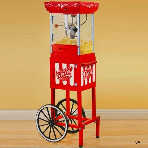 """Nostalgia Electrics Vintage Collection 48"""" Old Fashioned Movie Time Popcorn Cart"""