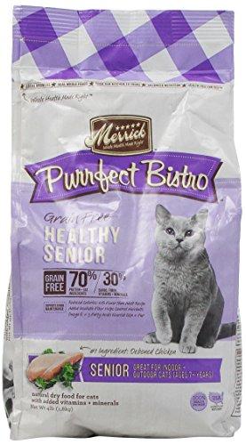 Merrick Purrfect Bistro Grain Free Healthy Senior Recipe Cat Food, 4-Pound
