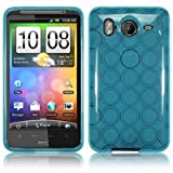 AEVI24 Designer TPU silicone Protective case for HTC Desire HD Cover - Retro Bubble Look - light blue