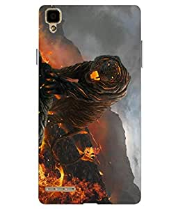 Make My Print Lion Printed Yellow Hard Back Cover For Oppo F1 Selfie