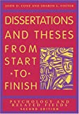 Dissertations And Theses from Start to Finish: Psychology And Related Fields (1591473624) by John D. Cone