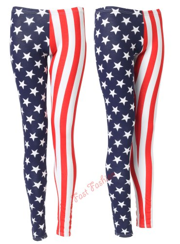Womens USA American Flag Stars &amp; Stripes Leggings/ Sizes 8-14, &Acirc;&pound;6.99 (S/M  UK(8-10), Navy/Red)