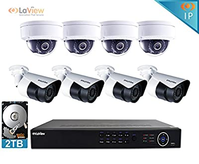 LaView 1080P IP 8 Camera Security System, 8 Channel IP PoE HDMI NVR (Resolution 1080p - 6MP) w/2TB HDD 4 Dome & 4 Bullet Hi-Res 2MP White Surveillance Camera Kit