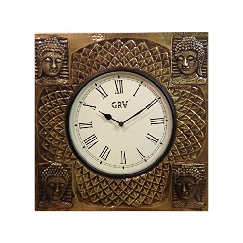Lifestyle HANDCRAFTED SQUARE BUDDHA DESIGN CLOCK.