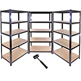 3 x 90cm Black Shed / Utility / Greenhouse Storage Racks Bays / Garage Shelving