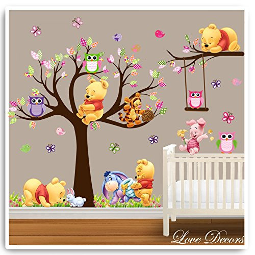 winnie the pooh wandsticker animal jungle eule baum. Black Bedroom Furniture Sets. Home Design Ideas
