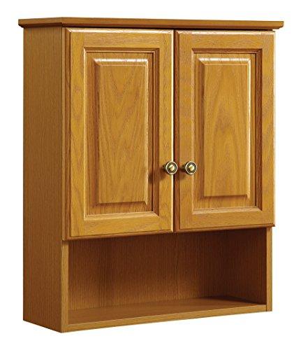 Design House 531962 21-Inch by 26-Inch Claremont Ready-To-Assemble 2 Door Bathroom Wall Cabinet, Honey Oak Light Oak 2 Door Cabinet