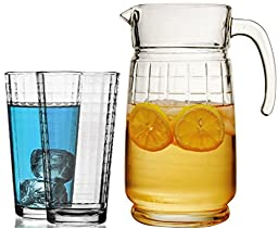 Circeware Windowpane Pitcher and Glasses Set, 1-64 Ounce Glass Pitcher and 4-14 Ounce Drinking Glasses, Limited Edition Clear Solid Heavy Base Ice Tea Juice Beer Beverage Party Cups Set