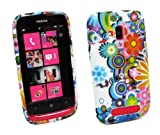 Kit Me Out UK IMD TPU Gel Case for Nokia Lumia 610 - Multicoloured Circles With Flowers