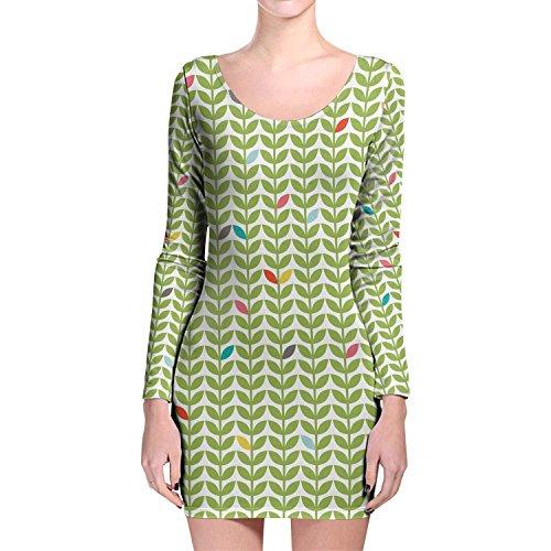 Queen of Cases Sixties Mod Flowers Longsleeve Bodycon Dress - XL Kleid XS-3XL