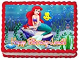 Little Mermaid 1/4 Sheet Edible Photo Birthday Cake Topper. ~ Personalized!