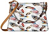 Snoogg Colorful Feather Designer Womens Carry Around Sling Bags