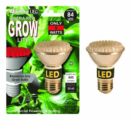 Miracle Led 603090 Commercial Hydroponic Ultra Grow Lite, Red Color: Ultra Red Style: 5-Watt Outdoor/Garden/Yard Maintenance (Patio & Lawn Upkeep)