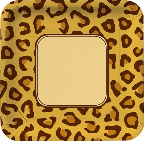 Creative Converting Animal Print Leopard Square Dinner Plates, 8 Count
