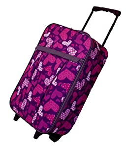 Foldable Ladies Girls Hearts Print Hand Luggage on Wheels Cabin Bag