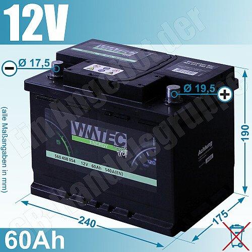 wmtec autobatterie starterbatterie 60ah 12v 540a. Black Bedroom Furniture Sets. Home Design Ideas