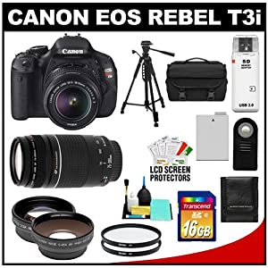 Canon EOS Rebel T3i Digital SLR Camera Body & EF-S 18-55mm IS II Lens with 75-300mm III Lens + 16GB Card + .45x Wide Angle & 2x Telephoto Lenses + Battery + Remote + (2) Filters + Tripod + Accessory Kit
