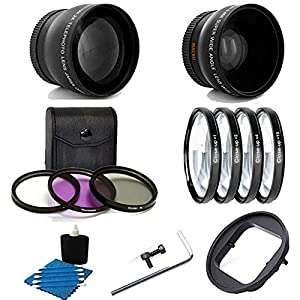 Deluxe Lens Kit For Gopro Hero4 Hero3+ Camera 52MM 2X Professional Telephoto Lens With High Definition 52MM Wide Angle Lens  ..