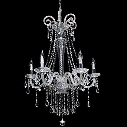 Dst Pendente di cristallo moderna di vetro trasparente 6 luci Lampada a sospensione Luce per Soggiorno Camera da letto Camera Studio D65cm H96cm 60 centimetri Catena