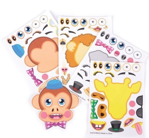 Make-a-Zoo Animal Sticker Sheets -12 Pack- For Kids, Arts, Parties, Birthdays, Party Favors, Gifts, Crafts, School, Daycare, Etc. - Kidsco (Plush Body Parts compare prices)
