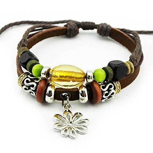 Wild Wind Unique Metal Flower Pendant Colorful Beads Multistrand Leather Adjustable Wrap Bracelet