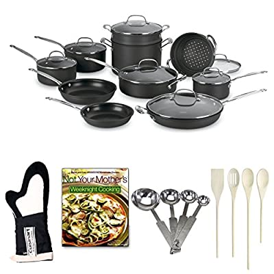 Cuisinart 66-17 Chef's Classic Nonstick Hard-Anodized 17-Piece Cookware Set + Farberware 4 Piece Kitchen Tool Set + Oven Mitt + Measuring Spoons + Not Your Mother's Weeknight Cooking