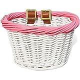Colorbasket 01532 Kid's Front Handlebar Wicker Bike Basket, White with Pink Trim