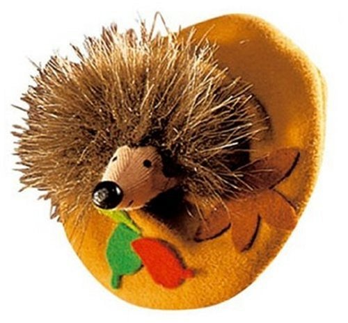 Kathe Kruse Finger Puppet Hedgehog in Leaf Pile
