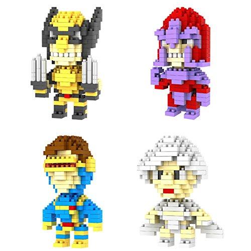 New 4box Loz Diamond Block X-men Wolverine Magneto Storm Cyclops Toys 720pcs Parent-child Games Building Blocks Children's Educational Toys