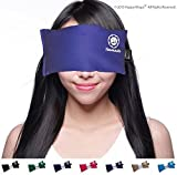 Lavender Yoga Eye Pillow - Hot/Cold Therapy #1 For Yoga, Meditation, Migraine, Stress & Anxiety Relief - Made in USA Since 1991. ? 100% Satisfaction Guaranteed ? Filled With French Lavender & Organic Flax Seed. Eye Pillows By Happy Wraps®. (Navy)