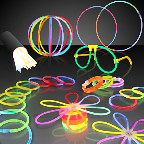 50 8″ HotLite Brand Premium Glow Stick Party Pack bracelets, triple bracelets, necklaces, hair pin, glasses, ball/ flower connectors and more. Party favor pack.