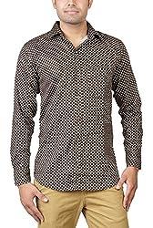 Basil Men's Lycra Cotton Blend Casual Shirt (BA360LCP37CSF-44, Brown, 44)