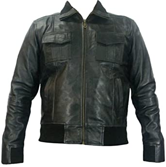 Real leather bomber jacket #D7 (S)