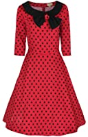 Lindy Bop 'Cassy' Vintage 1950's Parisian Style Three Quarter Sleeve Bow Dress