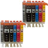 12 XL CLI-551XL/ PGI-550XL ColourDirect Compatible Ink Cartridges for Canon Pixma iP8750 MG6350 MG7150 MG7550 Printers 2X Big Black 2X Black 2X Cyan 2X Magenta 2X Yellow 2X Grey